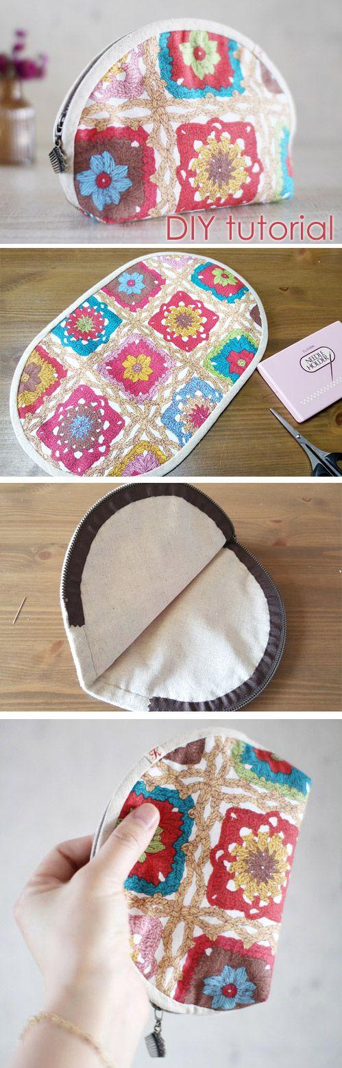 Cute half-round zipper pouch bag. DIY tutorial in pictures.  http://www.handmadiya.com/2015/10/half-circle-zip-pouch.html