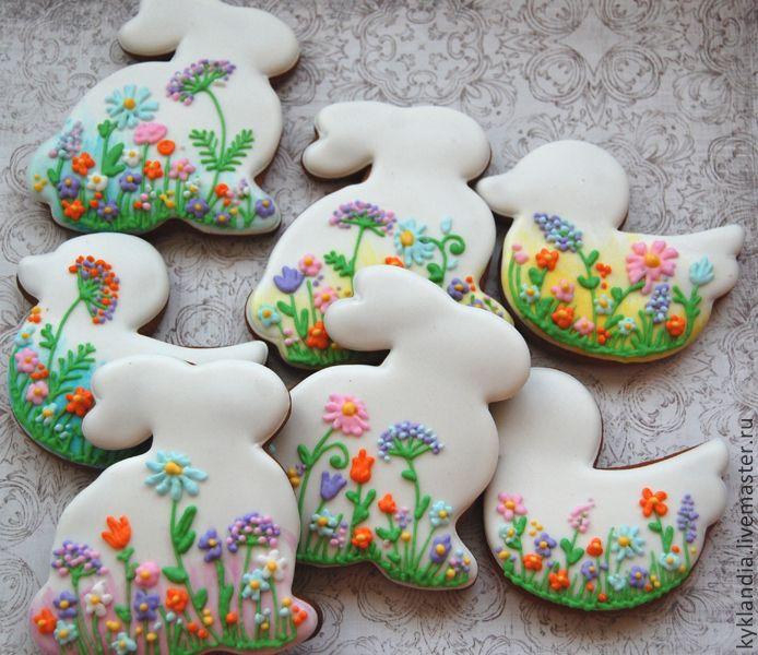 Пасхальные зайчики и утята с цветами - белый,пасхальный подарок,пасхальный зайчик