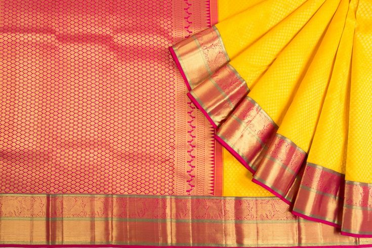 Kanchipuram Silk Brocade Yellow Saree