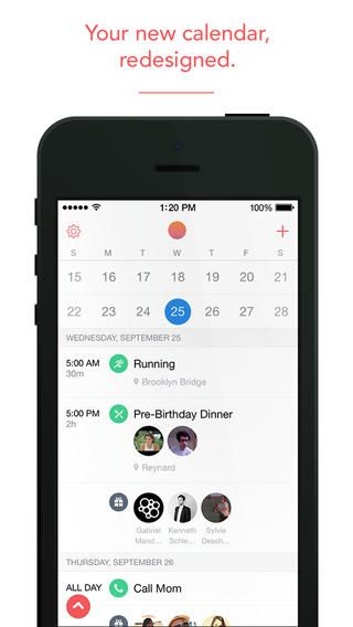 Sunrise calendar app - brings all of your calendars together in one pretty interface. Super easy to add events from your phone!