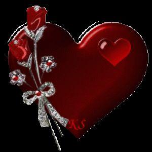 Imagen de amor de corazones y rosas con brillo y movimiento corazón palpitando