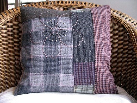 Handmade Pillow Cover /  Rustic Farmhouse Decor / Hand Embroidered Art Pillow / Grey Mauve Olive Upcycled Plaid Wool / OOAK Holiday Gift