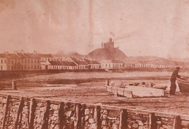 Donaghadee- view of The Parade and The Moat from Lemon's Wharf c.1860-  001