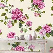 Fototapet - Un Bisou 88 - Super romantisk fotostat med store roser. Bunden er cremehvid.