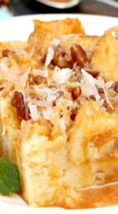Caramel Coconut Cream Bread Pudding