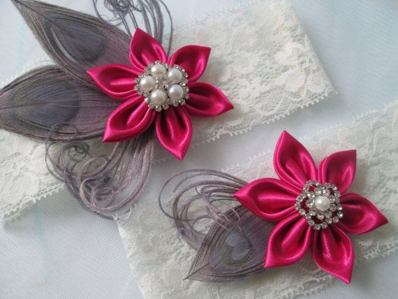 Hot Pink & Silver Wedding Garter Set PEACOCK by NakedOrchidGarters