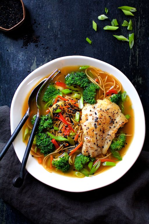 Asian Vegetable Noodle Broth Bowls with Pan Seared Fish by fromachefskitchen #Noodle_Bowl
