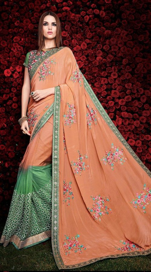 Exclusive Floral Resham Work Peach Georgette And Light Green Net Saree 5H1000662 Lovely peach georgette, net border saree which is adorned with floral zari, resham embroidery work all over which add to the classy look. This sari comes with matching floral embroidered blouse piece. The blouse of this saree can be stitched in the maximum bust size of 40 inches.