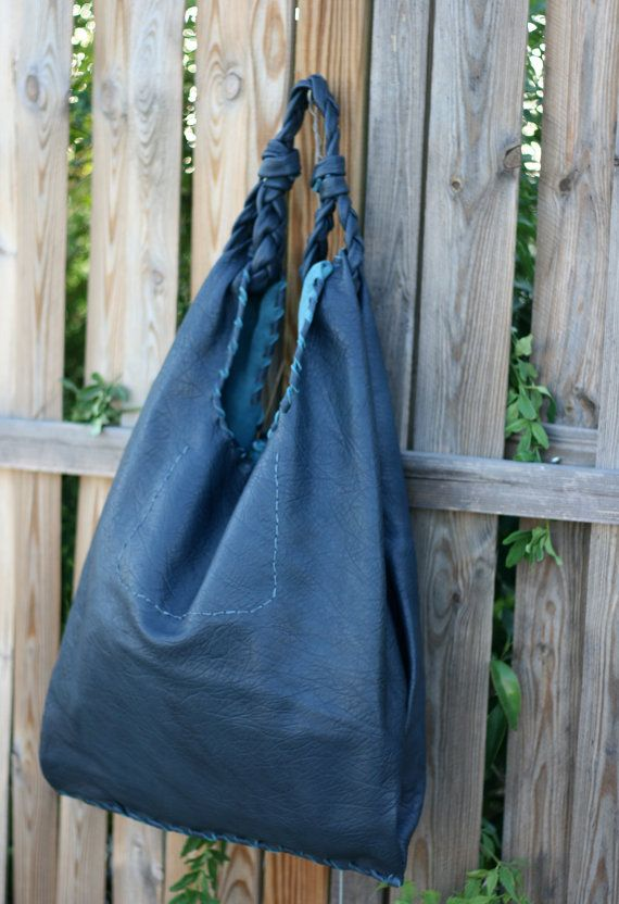 Blue Leather Hobo Bag  Every day Shopping Bag  by EleannaKatsira
