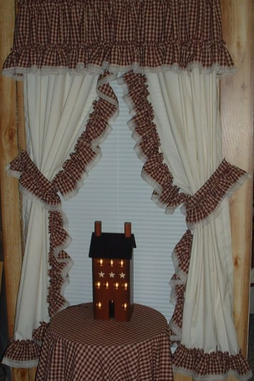 Image detail for -Curtains RUFFLED CURTAIN - Two Red Fabric Choices Primitive Country ...