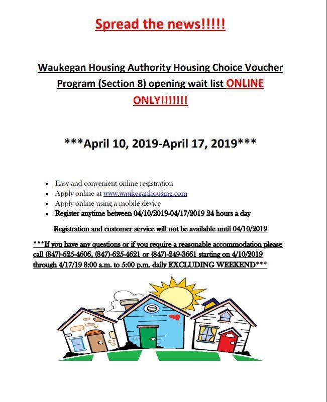 04 13 19 Illinois Housiing Waukegan Housing Authority Lake County Illinois Open Till 04 17 19 Apply Online How To Apply Waukegan