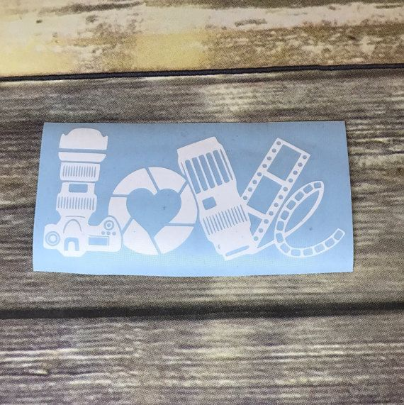 Love | Photography | Photographer | Camera | Film | Shutter | Heart | Decal | Custom Sticker | Perfect for: Car Window, Laptop, Planner