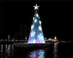 just off the coastline of geelong's picturesque corio bay, award-winning melbourne agency creative production services and lighting designer philip lethlean have anchored australia's first floating christmas tree.