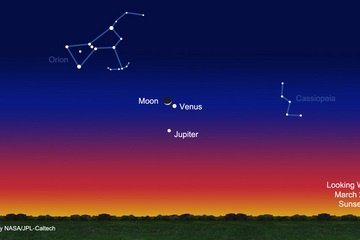 Venus, Jupiter and the Moon meet up tonight (March 25, 2012). Click a link on this website to watch NASA's live feed.