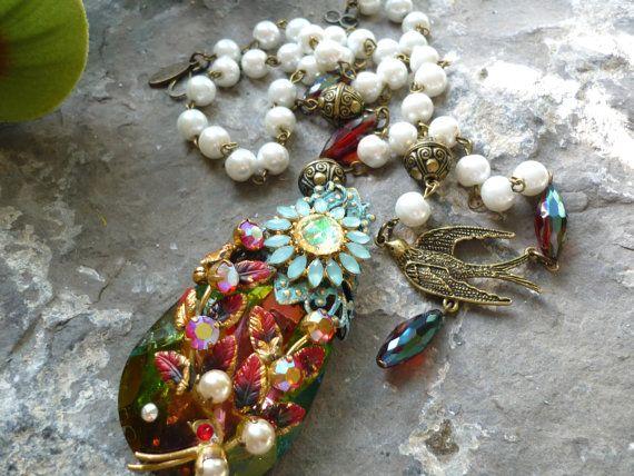 upcycled collana pezzi d'epoca antico braccialetto di Bijouxgeisha