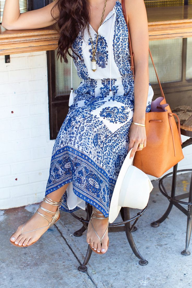 Blue and white paisley dress.