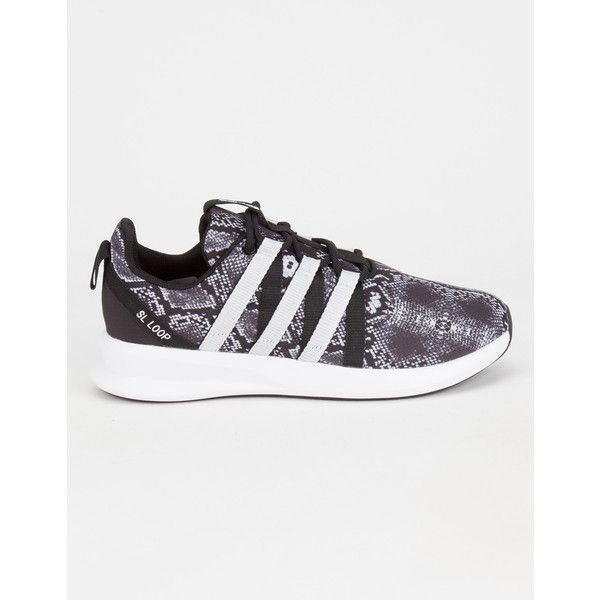 Adidas Originals SL Loop Racer Womens Shoes ($75) ❤ liked on Polyvore featuring shoes, athletic shoes, black combo, black snakeskin shoes, lace up shoes, snake skin shoes, lace shoes and light weight shoes