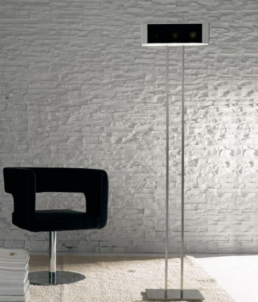 wing floor lamp with brushed nickel and clear glass decorated white or black.