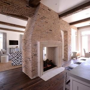 25 best ideas about double fireplace on pinterest - Fireplace between two rooms ...