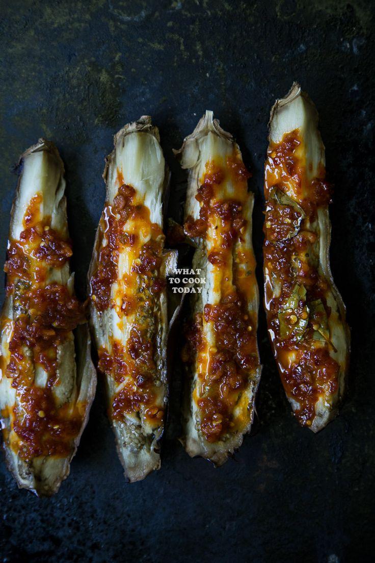 Sambal Terong Bakar/ Roasted Eggplants with Sambal. Roasted eggplants are smothered in umami spicy sambal