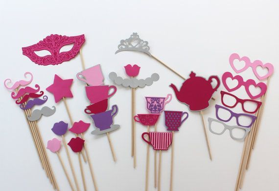 home made photo booth in garden teaparty props - Google Search