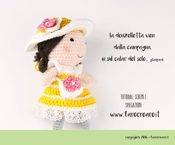 Anna crochet doll, cambia il suo guardaroba con il vestito di primavera per la bambola amigurumi di colore giallo, con borsetta e cappello.