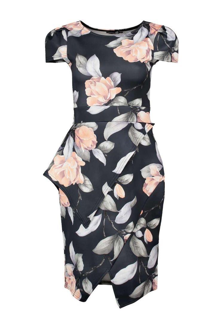 Misty Asymmetric Peplum Floral Print Midi Dress $35