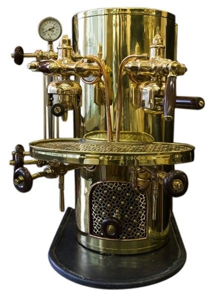 "Apparently espresso first made its appearance on the Italian beverage scene in 1884 when Angelo Moriondo of Turin, Italy, built and patented the first machine, which forced hot water under pressure through finely ground coffee.  The method made a stronger coffee drink that became known as ""espresso."""