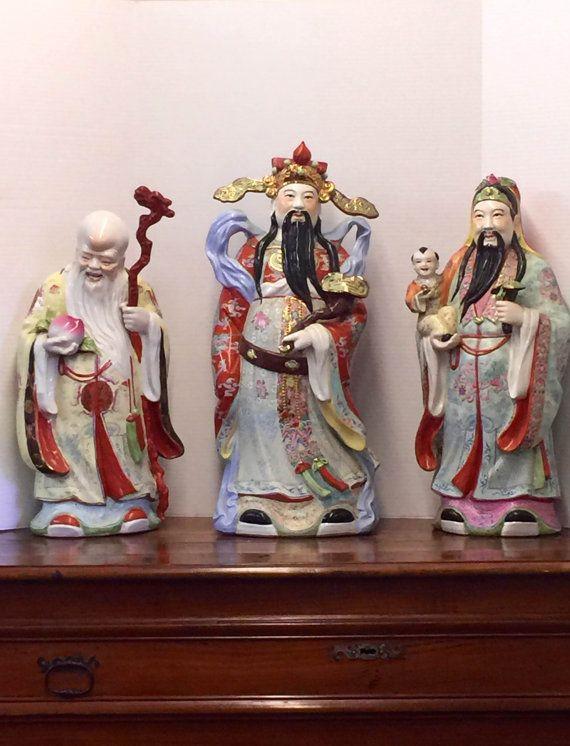 "Sanxing Three Star Gods Fu Lu Shou Chinese Porcelain Deity Statues 6/"" GOOD LUCK"