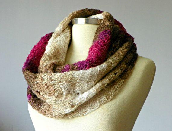 Crochet Cowl Scarf Neck Warmer cream fuchsia camel by yarnisland
