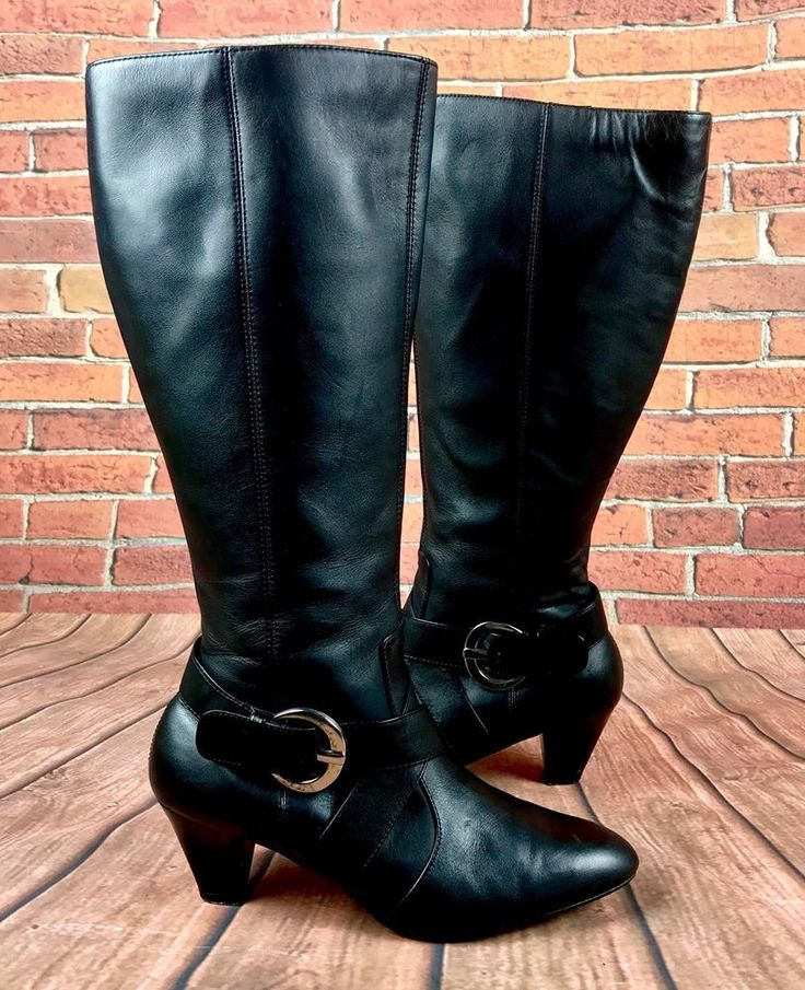 Boots by Lilley & Skinner Black Zip Up Knee High size 6 women buckle design