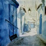 """Шефшауэн. Синий город "" акварель, гуашь. 40x50см. 2017г. ""Chefchaouen. Blue city"" watercolor, gouache."