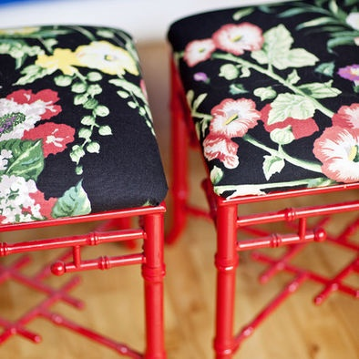 Red Bamboo Stools With Black Floral.