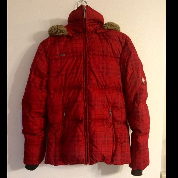 Columbia Red Plaid Winter puffer  Jacket Columbia Red Plaid Winter puffer Jacket. In great, like new condition. Only worn once. Slight fade on cuff. Size small. Columbia Jackets & Coats