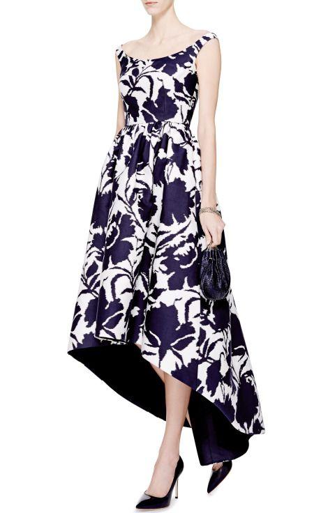 Printed Cotton and Silk-Blend Asymmetric-Hem Dress by Oscar de la Renta - Moda Operandi