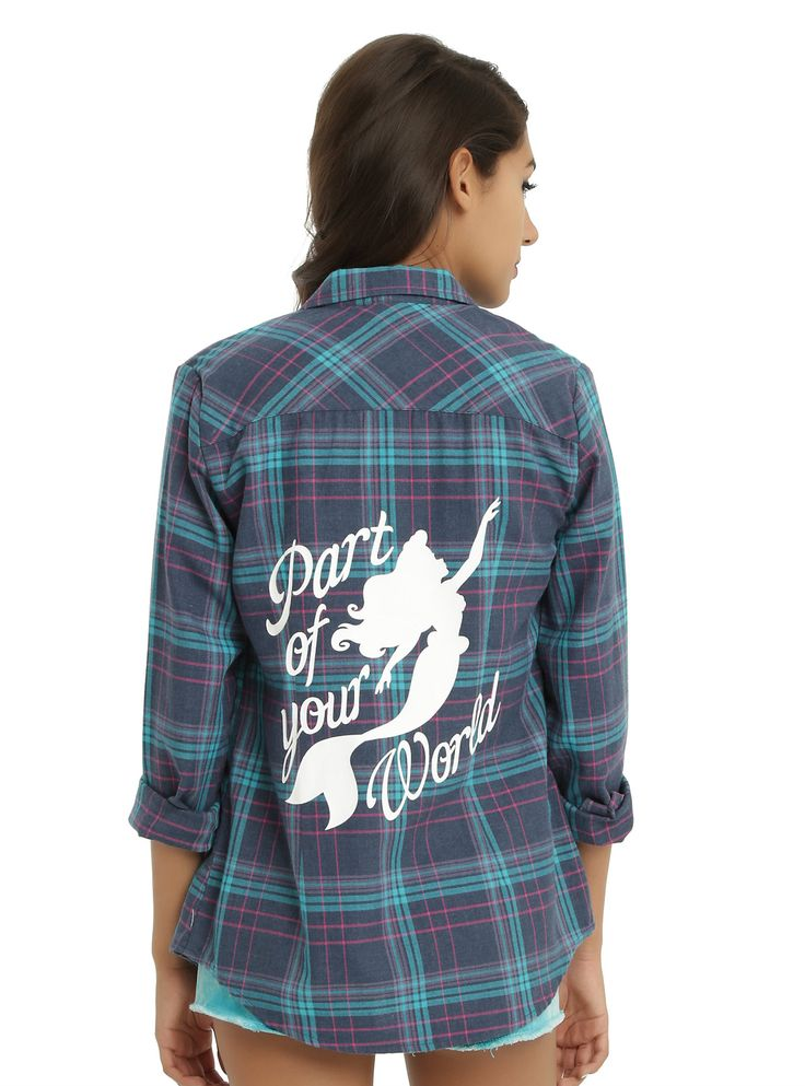 """<p>Make Ariel a part of your style with this pink, blue and turquoise plaid long-sleeved woven. The back features a """"Part of Your World"""" Ariel silhouette graphic.</p>  <ul> <li>60% cotton; 40% polyester</li> <li>Wash cold; dry low</li> <li>Imported</li> <li>Listed in junior sizes</li> </ul>"""