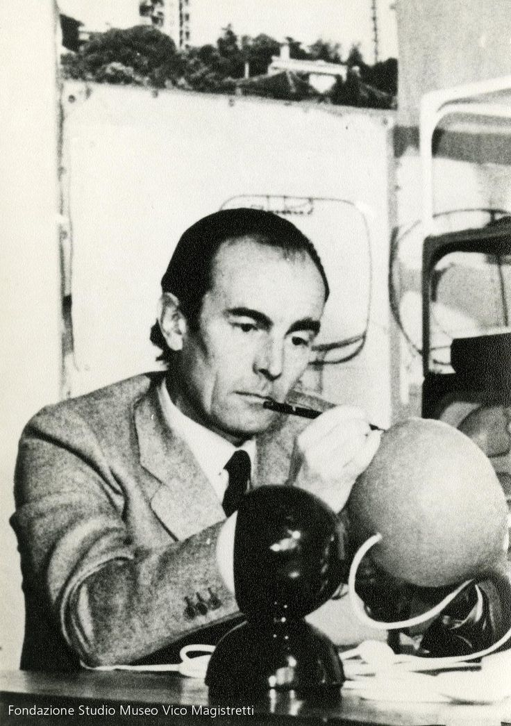 Vico Magistretti in his studio working on an Eclisse prototype.  http://www.artemide.us/?page=main/flypage&pageTitle=Eclisse%20photo%202&product_id=1034&layout=features
