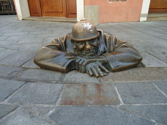 a famous sculpture Bratislava