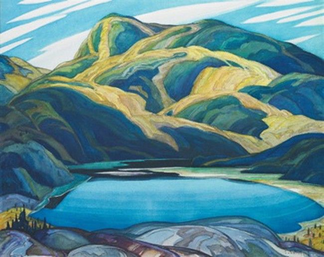 Franklin Carmichael, Lone Lake (650×516) Born: May 4, 1890 Orillia, Ontario, Canada. Died: October 24, 1945 (aged 55) Toronto, Ontario, Canada.