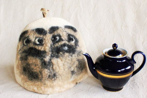Pug gifts Pug Art Pug Dog Tea Coffee warmer Pugs Gift for tea drinker Art tea Teapot Cosy Felted  Handmade / felted from norwegian and merino wool  (no sewing) . I use wool, warm water and norwegian green soap (made of pine oil) - one of the cleanest processes in textile!   DIA ; 70 cm - H. 25,5 cm. / Dia .27,5 inch - H. -10 inch  Washing: in washing machine : use program for wool . Hand wash in lukewarm water with regular shampoo.  Wool is warming, water repellent, self-cleaning, h...