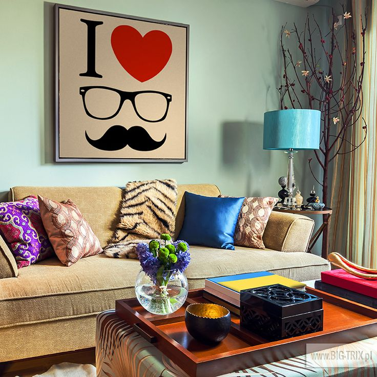 I LOVE HIPSTER wall by www.big-trix.pl | #painting #mint #hipster #wallpaper