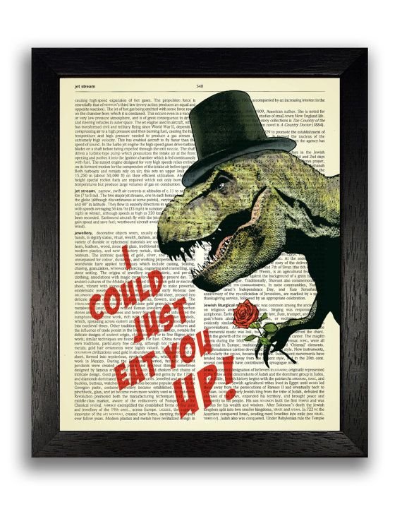 I Could Just Eat You Up T Rex Art Print on Dictionary Book Page, Dinosaur Poster for Kids Bedroom, Love Art Anniversary Gift for Boyfriend