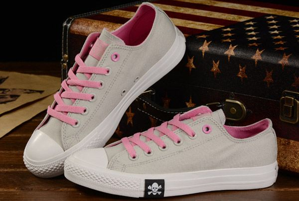 converse Fashion Skull Converse Chuck Taylor All Star Double Colors Grey  Pink Canvas Sneakers Low Tops fdbc2f2f0