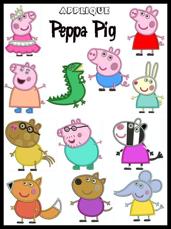 Set of 12 - PEPPA PIG - Machine Applique Embroidery - Instant Digital Download