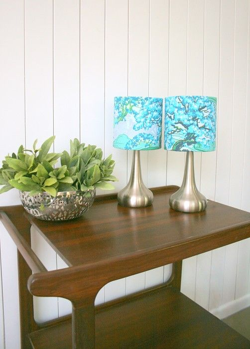 Blue Amy Butler fabric lampshades & touch light bases pair, set of two | Made In Fabric | madeit.com.au