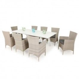 Provence 220 X100 Table With Meridian Chairs  9pc Outdoor Setting