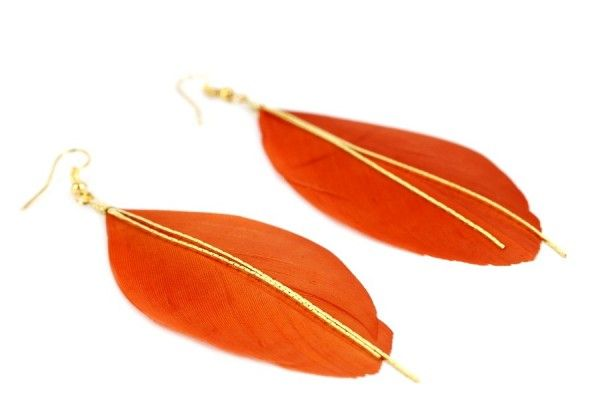 Boucles d'oreilles orange fantaisies - orange feather earrings jewelry