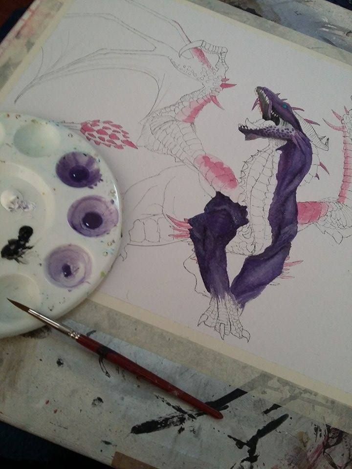 Dragon watercolour in progress. Sadly I never finished it because it tore.