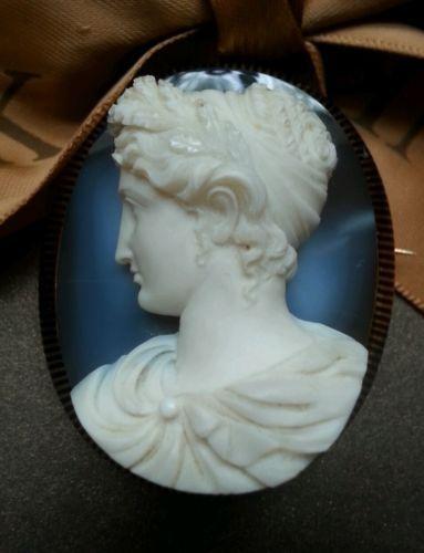 Huge-Perfect-Museum-Quality-Hardstone-Sappho-Cameo-14k-Enamel-Brooch