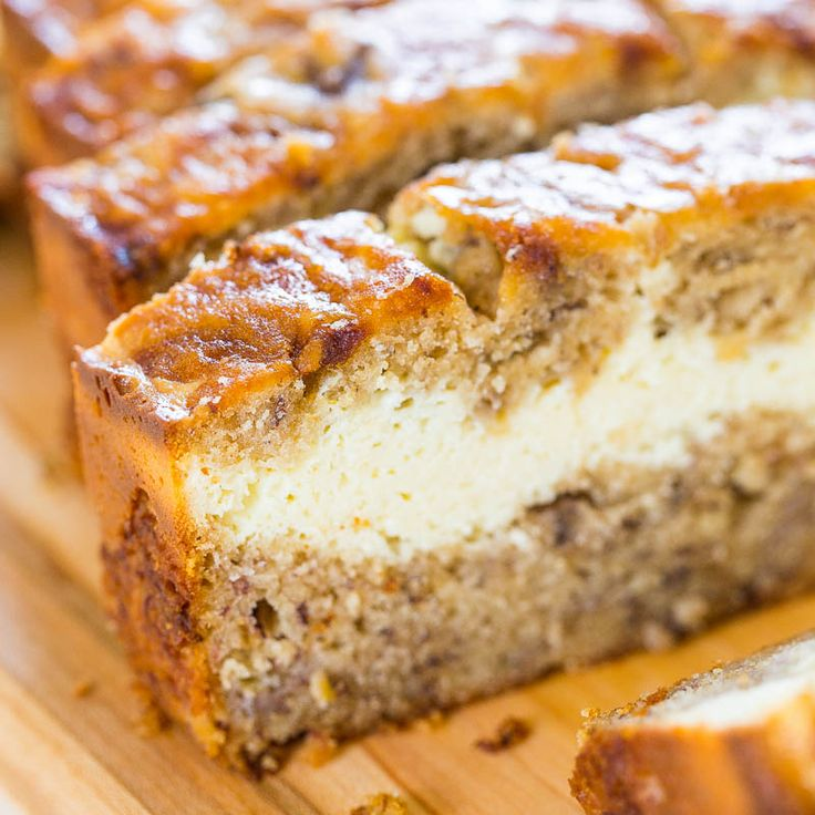 Cream Cheese-Filled Banana Bread http://www.averiecooks.com/2014/07/cream-cheese-filled-banana-bread.html?utm_campaign=coschedule&utm_source=pinterest&utm_medium=The%20Wicked%20Noodle